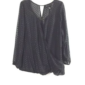 Lane Bryant Womens 18/20 Black Sheer Metallic Top